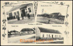 67666 - 1915 Měnín - 4okénková, lidé, obchod, kostel, škola, �