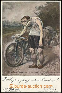 67689 - 1898 CYCLING, caricature Bicyclanthropos curvatus; long addr