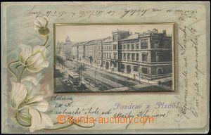 67705 - 1903 Plzeň - litografická koláž, ulice, tramvaj, tlačen