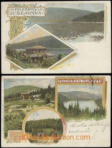 67709 - 1903 Šumava, sestava 2ks pohlednic, obrazové koláže, Če