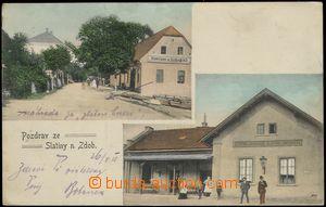 67712 - 1908 Slatina above Zdobnicí - railway-station, pub, people;
