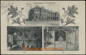 67732 - 1916 Rokycany - 3-views, Sokol house, interiors, kulečník;