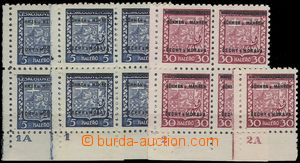 67937 - 1939 Pof.1 and 5, comp. 3 pcs of corner blk-of-4 and stamps
