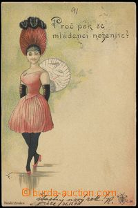 68077 - 1891 Josef Šváb č. 28, vnadná dáma, litografie; DA, pro