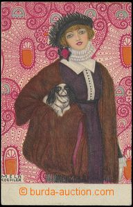 68079 - 1914 KOEHLER Mela: Dívka s pejskem; neprošlá, vzadu popsa