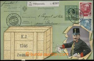 68137 - 1913 Svitavy (Zwittau) - collage dispatch note, mounted fold