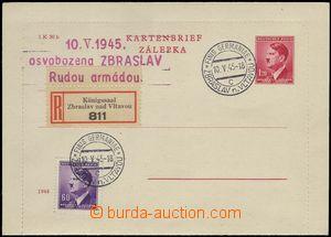 68326 - 1945 protektorátní zálepka CZL5, AH 1,20K, razítko FINIS
