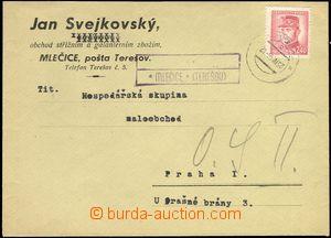 68438 - 1946 firemní dopis s frank. 2,40Kčs, vylomené protektorá