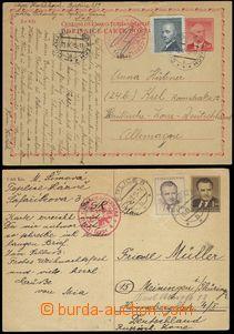 68496 - 1949 CENZURA  sestava 2ks dopisnic s dofrankováním do Něm