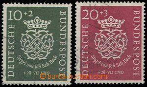 68502 - 1950 Mi.121-122, Johann Sebastian Bach, light postmark, c.v.