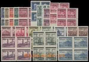 68532 - 1939 Pof.1-19, blocks of four, exp. by Gilbert.., c.v.. 5000