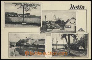 68560 - 1939 Netín - 4-views, pub, church; Us, light ribbed corner