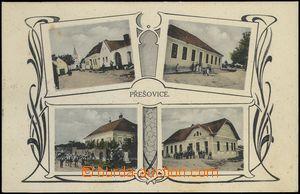 68561 - 1929 Přešovice - 4-views, pub, school, village square; Us,