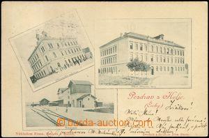 68676 - 1900 Holice - 3-views, school, credit bank, railway-station;