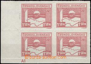 68686 - 1945 Pof.353, Košické 1,50K, rohový 4-blok s DČ A1