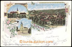 68709 - 1905 Klobouky near Brno, color collage lithography, 3-views,