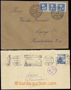 68796 - 1939 2x dopis s bředběžnými frankaturami do ciziny, 1x vyfr.