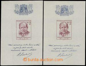 68826 - 1954 Pof.A813, miniature sheet A. Zápotocký, 2 pcs of, 1x