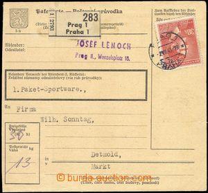 68850 - 1943 balíková průvodka COF34 bez podacího ústřižku, v