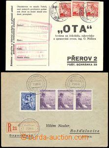 68864 - 1940-43 2ks odpovědních celistvostí, 1x nádražní R dop