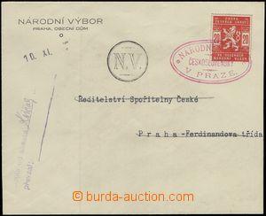 68885 - 1918 úřední obálka Národního výboru, vyfr. zn. Pof.SK