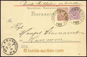 68896 - 1889 dopisnice P18I zaslaná jako Ex, dofr. zn. 25Pf, Mi.43,