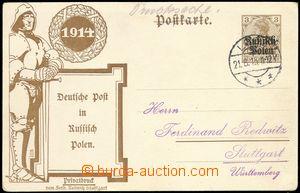 68898 - 1915 POLEN  soukromá dopisnice 3Pf s přítiskem Deutsche P