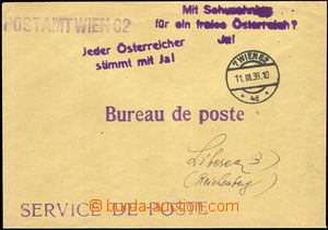 68921 - 1938 service letter Viennese post Service de Poste with two