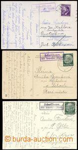 68958 - 1939-42 sestava 3ks pohlednic s razítky poštovny Schwillbo
