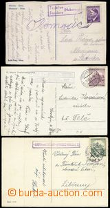 68960 - 1940 sestava 3ks pohlednic s razítky poštoven TOPOLAN/ TOP