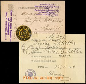 68973 - 1916 FP card sent from Wien (Vienna) to Prague, nice postmar