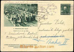 68993 - 1938 obrazová dopisnice Tyrš, CDV71/6 adresována na PP 54