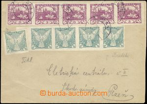 69121 - 1919 letter with Pof.2, horizontal strip of 5, and Pof.NV1 5