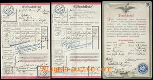 69129 - 1901-06 zatykač + freight letter for railroad, 3 pcs of fun