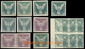 69166 - 1918 Pof.NV1-2, 4, sestava dvojitých a trojitých tisků, 4