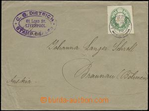 69191 - 1910 commercial letter to Austria, franked with. cut-square