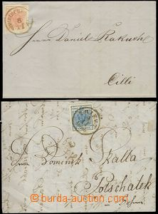 69204 - 1855-56 2 pcs of folded letters with the first issue., 1x 3