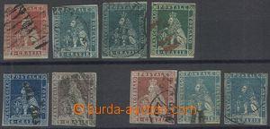 69743 - 1851-55 sestava 9ks známek Lev, blíže nespecifikováno, p