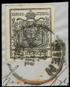 69767 - 1850 Mi.2 Coat of arms, on cut-square, type III., HP, comple