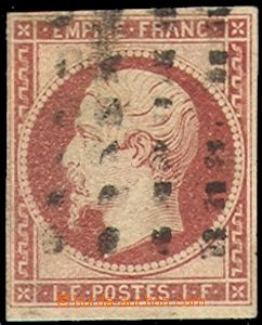 70180 - 1854 Mi.17, Napoleon III. 1Fr, c.v.. 5000€, wide margins
