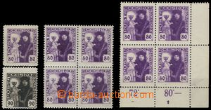 71136 -  Pof.162, 163, 1x block of four stamp. 162, 1x corner blk-of