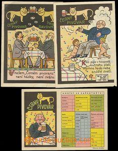 71387 - 1930 3ks reklamních pohlednice, autor Josef Lada,  Černý