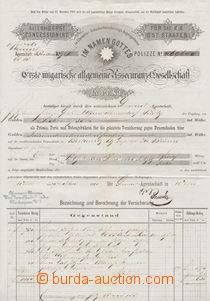 71414 - 1875 AUSTRIA-HUNGARY  on both sides insurance form in Pest,