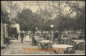 71447 - 1907 Wien, zahradní restaurace Knödelhütte, lidé; prošl