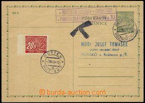 71451 - 1940 CDV1 burdened by postage-due 20 h. Pof.DL3, CDS ROŇOV/