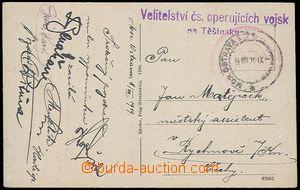 71462 - 1919 pohlednice zaslaná z Moravské Ostravy  DR OSTRAVA/ 9.