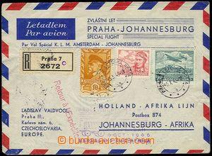 71500 - 1946 CZECHOSLOVAKIA 1945-92  Reg and airmail letter transpor