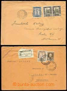 71506 - 1931 sestava 2ks dopisů z Libye do ČR, 1x R,  smíšená italsk