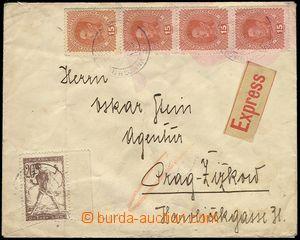 71511 - 1919 Ex-dopis z Lubljany do Prahy, vyfr. rak. zn. Karel 15h