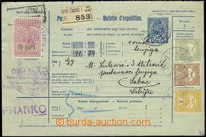 71526 - 1908 celá balíková průvodka, zásilka ze Zagrebu do Šabacu fr